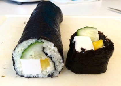 cutting cauliflower sushi