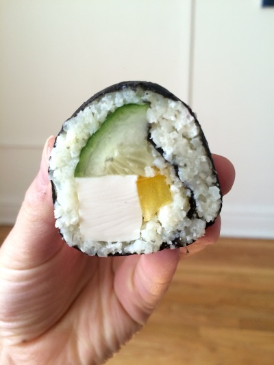 cauliflower sushi in hand