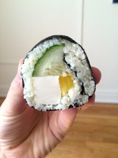 cauliflower sushi in hand