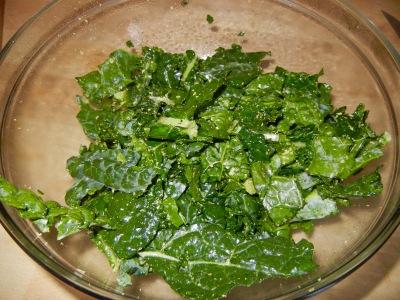 spraying kale chips